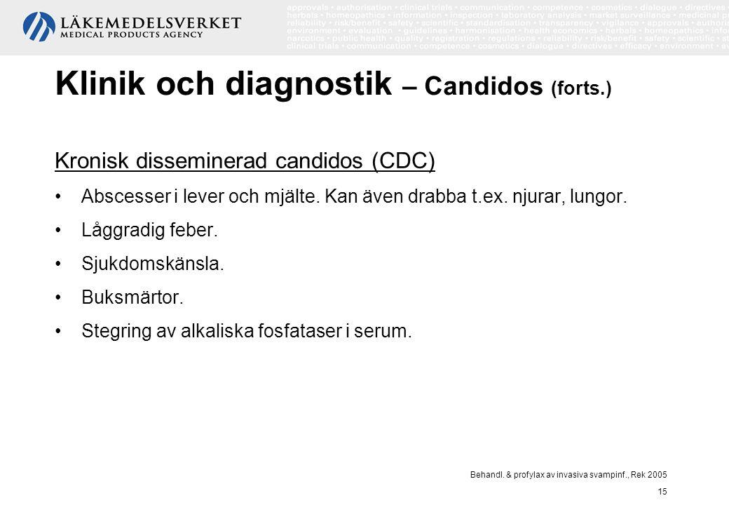 Behandl. & profylax av invasiva svampinf., Rek 2005 15 Klinik och diagnostik – Candidos (forts.) Kronisk disseminerad candidos (CDC) Abscesser i lever