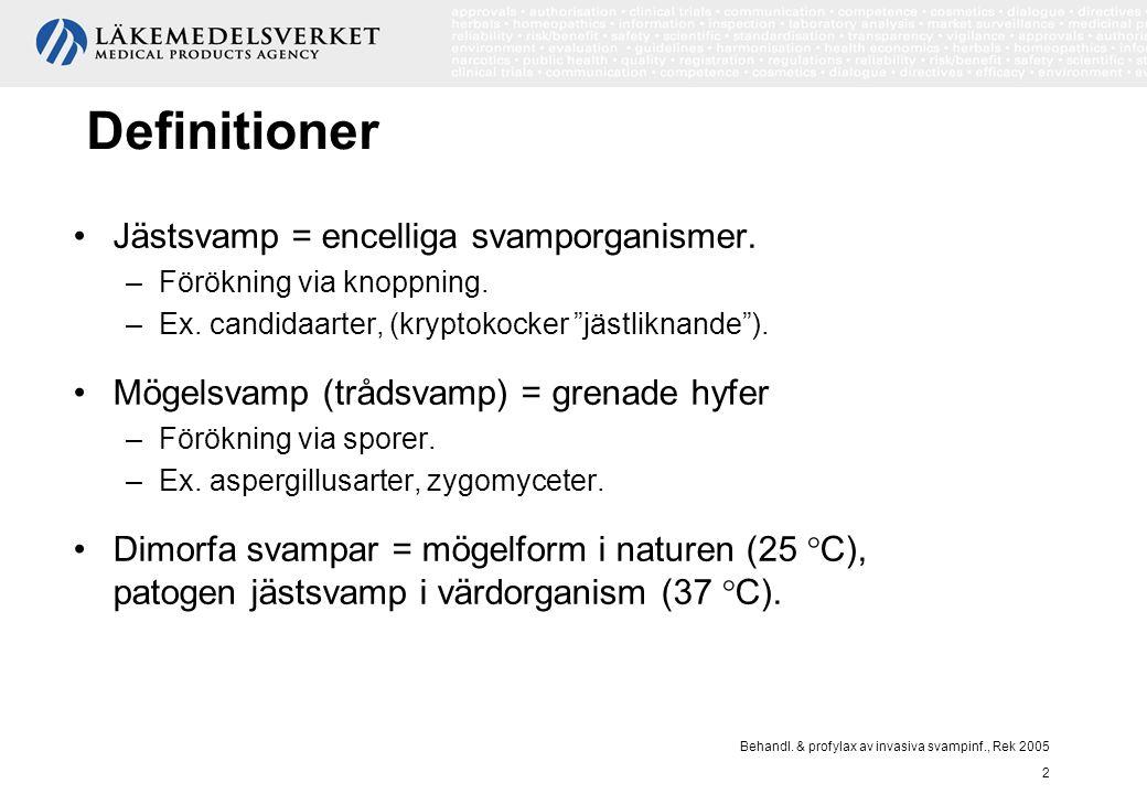 Behandl. & profylax av invasiva svampinf., Rek 2005 2 Definitioner Jästsvamp = encelliga svamporganismer. –Förökning via knoppning. –Ex. candidaarter,