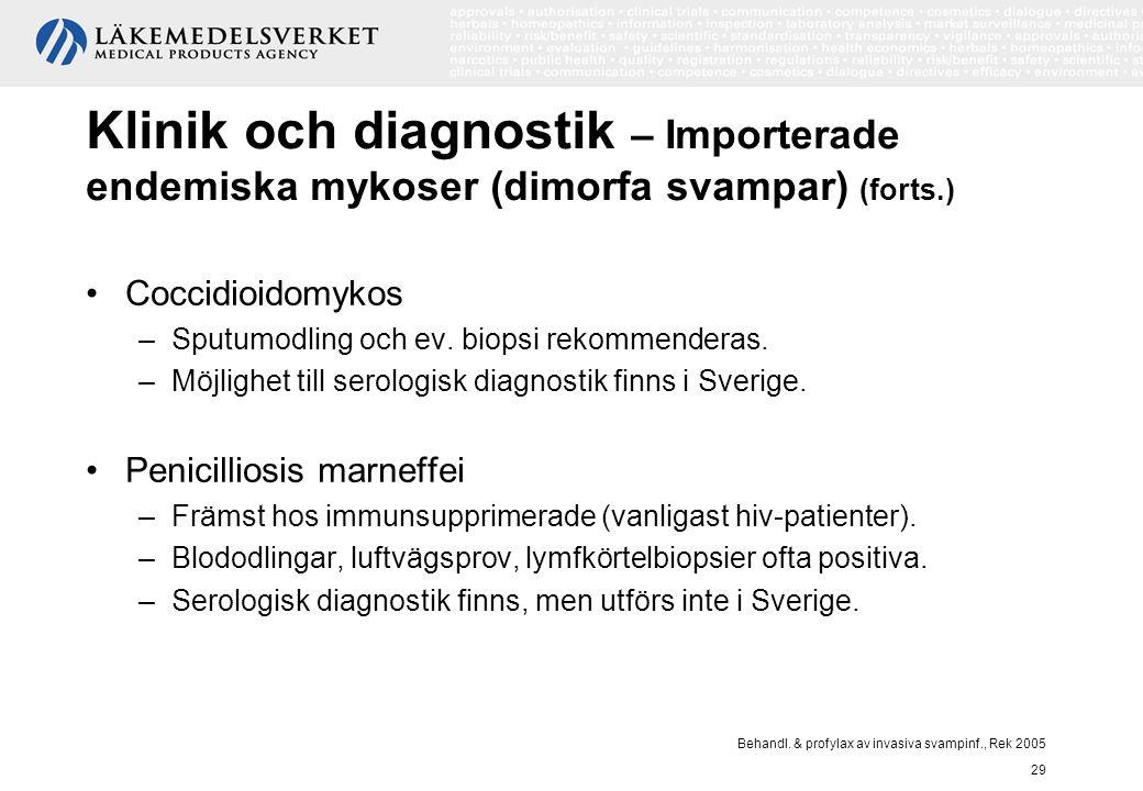 Behandl. & profylax av invasiva svampinf., Rek 2005 29 Klinik och diagnostik – Importerade endemiska mykoser (dimorfa svampar) (forts.) Coccidioidomyk