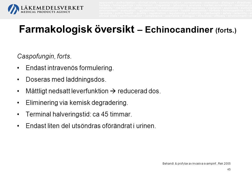 Behandl. & profylax av invasiva svampinf., Rek 2005 45 Farmakologisk översikt – Echinocandiner (forts.) Caspofungin, forts. Endast intravenös formuler