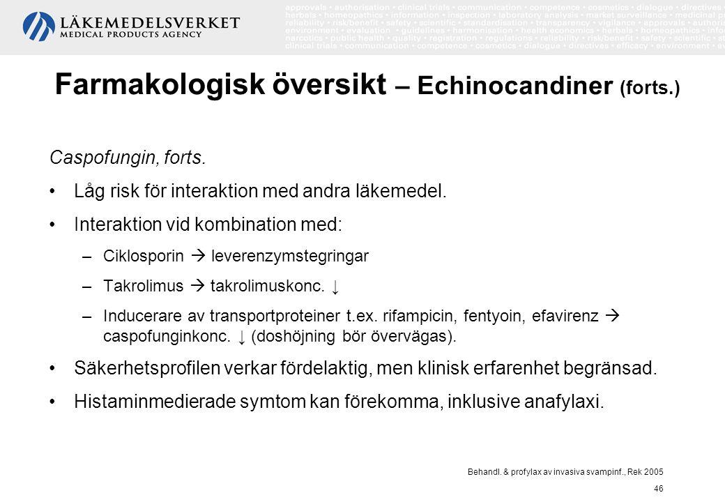 Behandl. & profylax av invasiva svampinf., Rek 2005 46 Farmakologisk översikt – Echinocandiner (forts.) Caspofungin, forts. Låg risk för interaktion m
