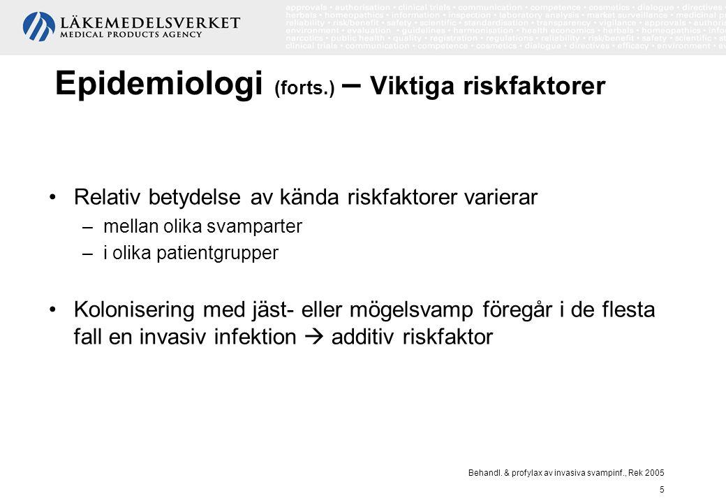 Behandl. & profylax av invasiva svampinf., Rek 2005 5 Epidemiologi (forts.) – Viktiga riskfaktorer Relativ betydelse av kända riskfaktorer varierar –m