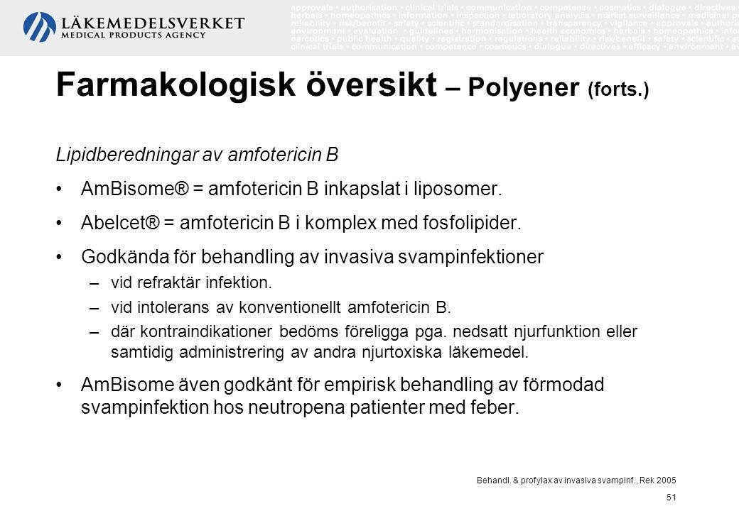 Behandl. & profylax av invasiva svampinf., Rek 2005 51 Farmakologisk översikt – Polyener (forts.) Lipidberedningar av amfotericin B AmBisome® = amfote
