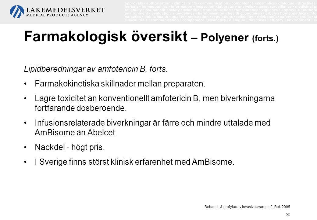 Behandl. & profylax av invasiva svampinf., Rek 2005 52 Farmakologisk översikt – Polyener (forts.) Lipidberedningar av amfotericin B, forts. Farmakokin