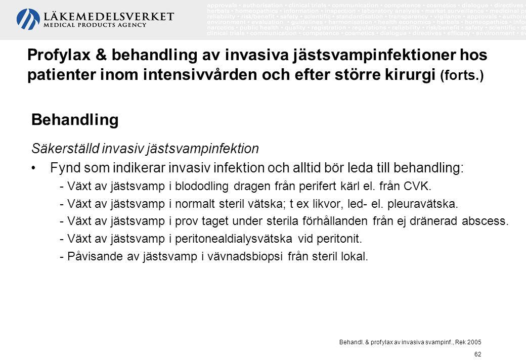 Behandl. & profylax av invasiva svampinf., Rek 2005 62 Profylax & behandling av invasiva jästsvampinfektioner hos patienter inom intensivvården och ef