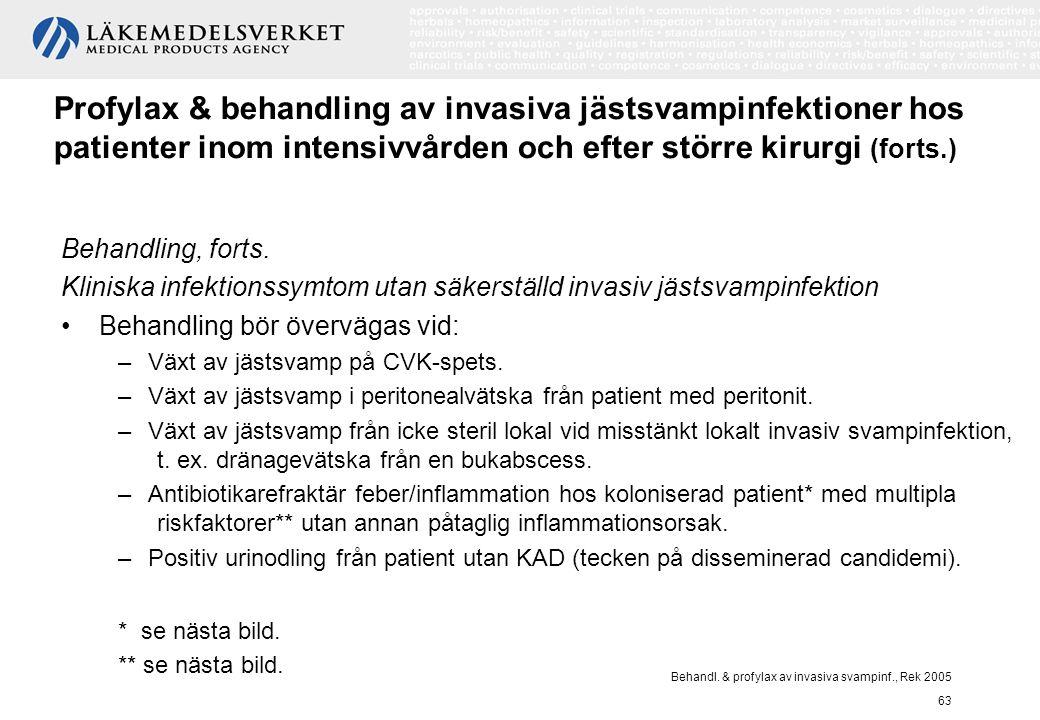 Behandl. & profylax av invasiva svampinf., Rek 2005 63 Profylax & behandling av invasiva jästsvampinfektioner hos patienter inom intensivvården och ef