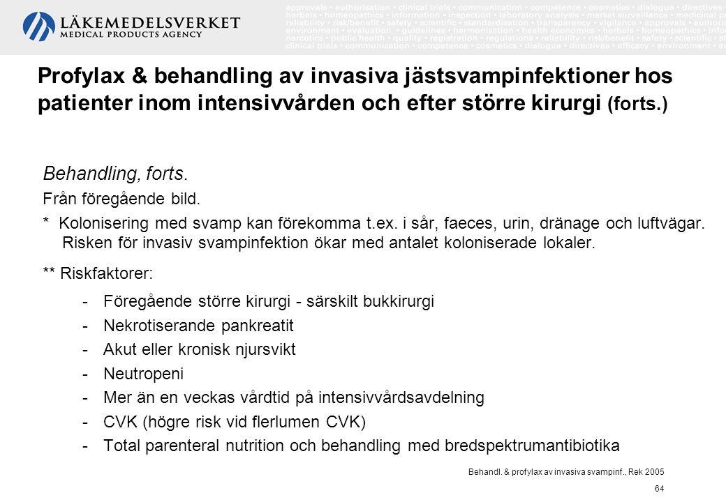 Behandl. & profylax av invasiva svampinf., Rek 2005 64 Profylax & behandling av invasiva jästsvampinfektioner hos patienter inom intensivvården och ef