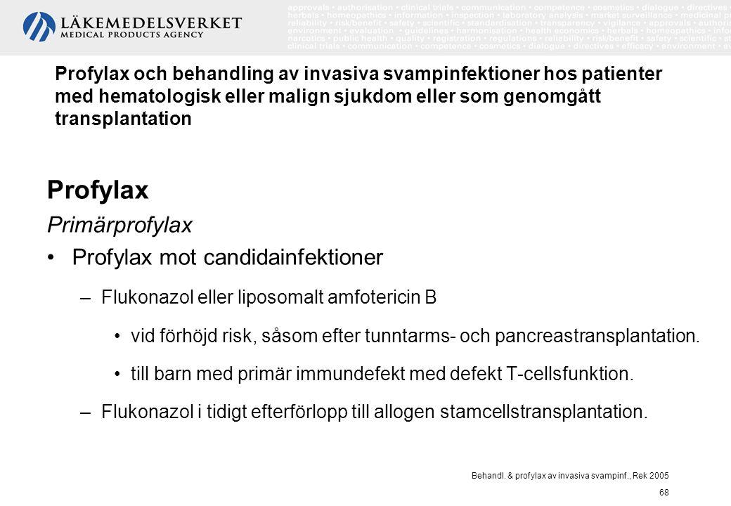 Behandl. & profylax av invasiva svampinf., Rek 2005 68 Profylax och behandling av invasiva svampinfektioner hos patienter med hematologisk eller malig