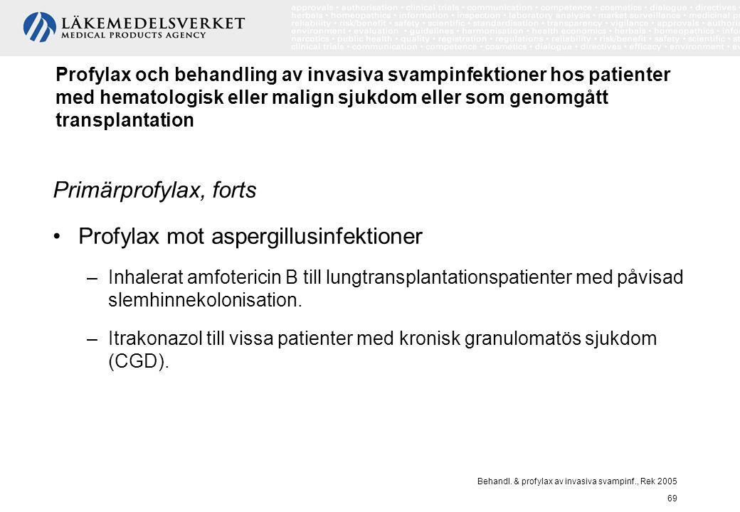 Behandl. & profylax av invasiva svampinf., Rek 2005 69 Profylax och behandling av invasiva svampinfektioner hos patienter med hematologisk eller malig