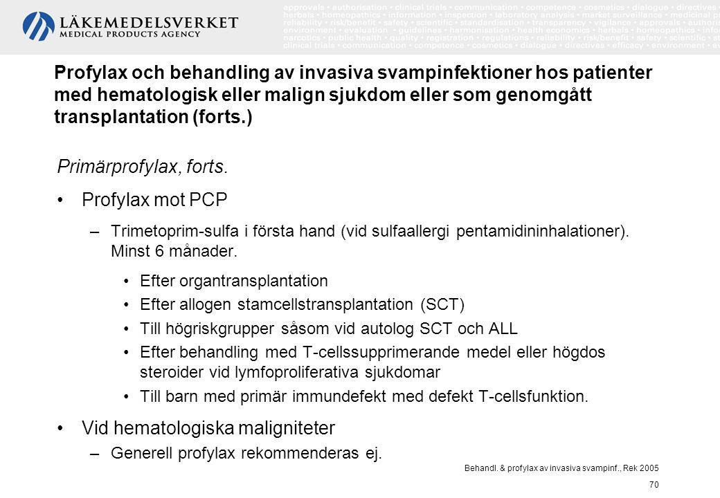Behandl. & profylax av invasiva svampinf., Rek 2005 70 Profylax och behandling av invasiva svampinfektioner hos patienter med hematologisk eller malig