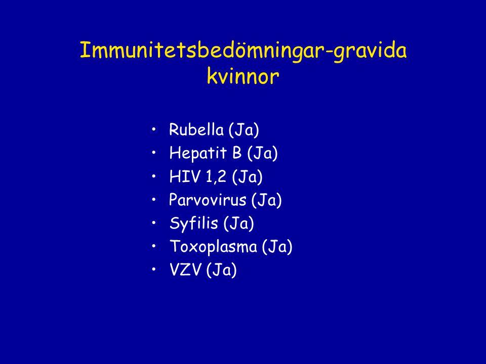 Immunitetsbedömningar-gravida kvinnor Rubella (Ja) Hepatit B (Ja) HIV 1,2 (Ja) Parvovirus (Ja) Syfilis (Ja) Toxoplasma (Ja) VZV (Ja)