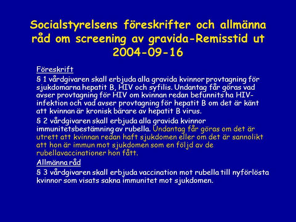 Socialstyrelsens föreskrifter och allmänna råd om screening av gravida-Remisstid ut 2004-09-16 Föreskrift § 1 vårdgivaren skall erbjuda alla gravida k