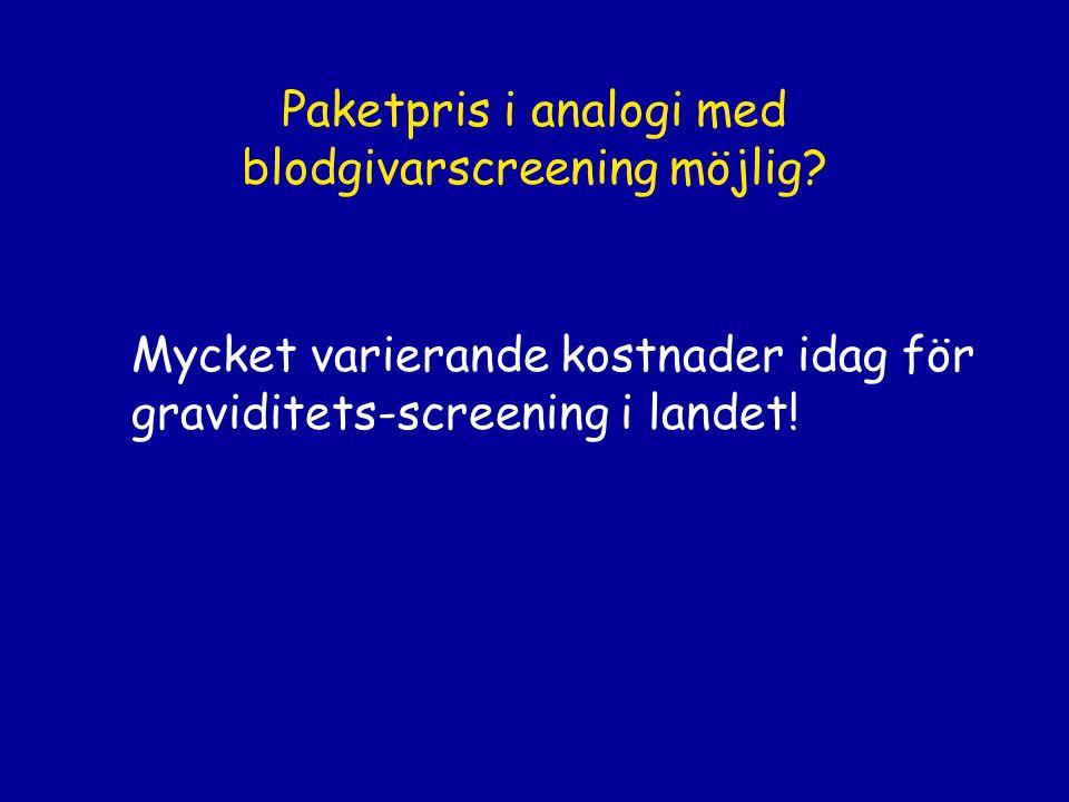 Paketpris i analogi med blodgivarscreening möjlig? Mycket varierande kostnader idag för graviditets-screening i landet!