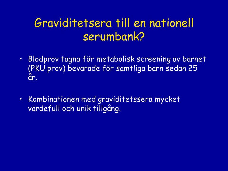 Graviditetsera till en nationell serumbank? Blodprov tagna för metabolisk screening av barnet (PKU prov) bevarade för samtliga barn sedan 25 år. Kombi