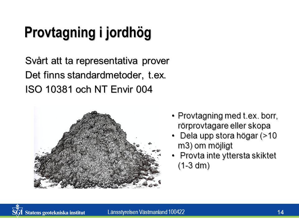 Länsstyrelsen Västmanland 100422 14 Provtagning i jordhög Svårt att ta representativa prover Det finns standardmetoder, t.ex. ISO 10381 och NT Envir 0