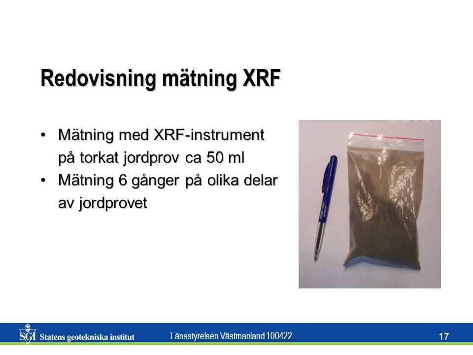 Länsstyrelsen Västmanland 100422 17 Redovisning mätning XRF Mätning med XRF-instrumentMätning med XRF-instrument på torkat jordprov ca 50 ml Mätning 6