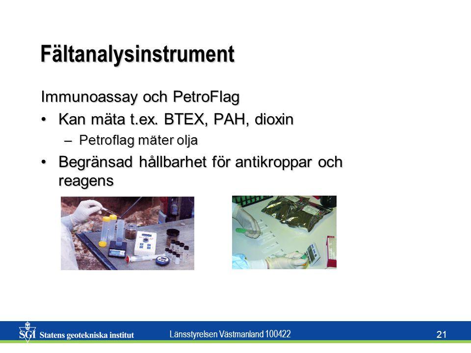 Länsstyrelsen Västmanland 100422 21 Fältanalysinstrument Immunoassay och PetroFlag Kan mäta t.ex. BTEX, PAH, dioxinKan mäta t.ex. BTEX, PAH, dioxin –P
