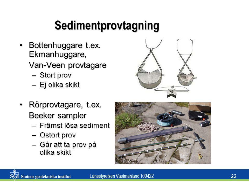 Länsstyrelsen Västmanland 100422 22 Sedimentprovtagning Bottenhuggare t.ex. Ekmanhuggare,Bottenhuggare t.ex. Ekmanhuggare, Van-Veen provtagare –Stört