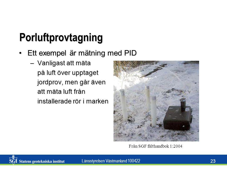 Länsstyrelsen Västmanland 100422 23 Porluftprovtagning Ett exempel är mätning med PIDEtt exempel är mätning med PID –Vanligast att mäta på luft över u