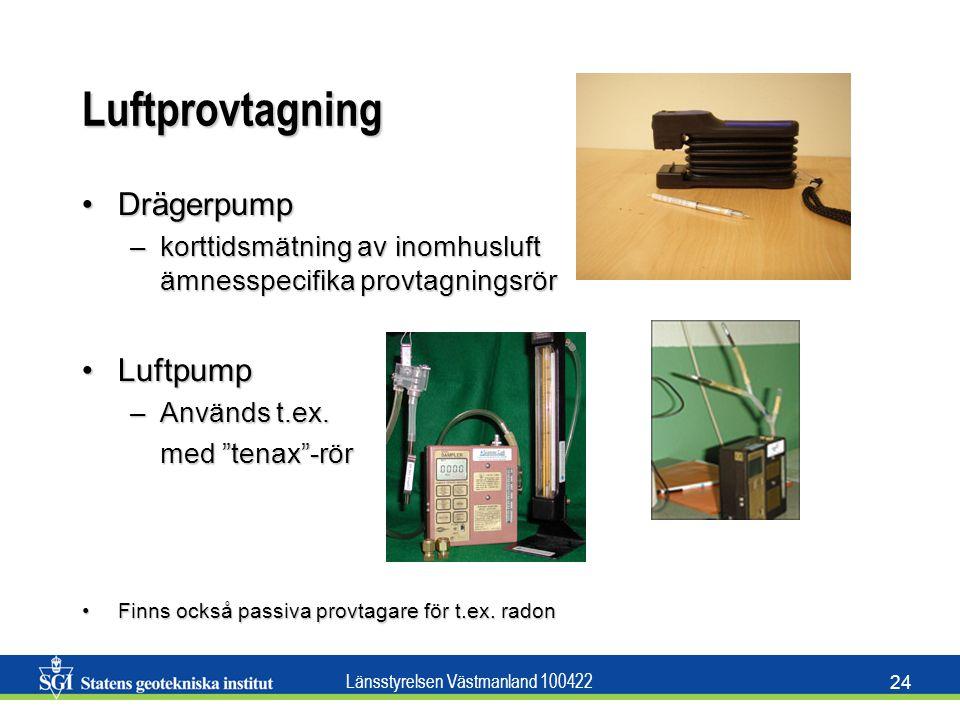 Länsstyrelsen Västmanland 100422 24 Luftprovtagning DrägerpumpDrägerpump –korttidsmätning av inomhusluft ämnesspecifika provtagningsrör LuftpumpLuftpu