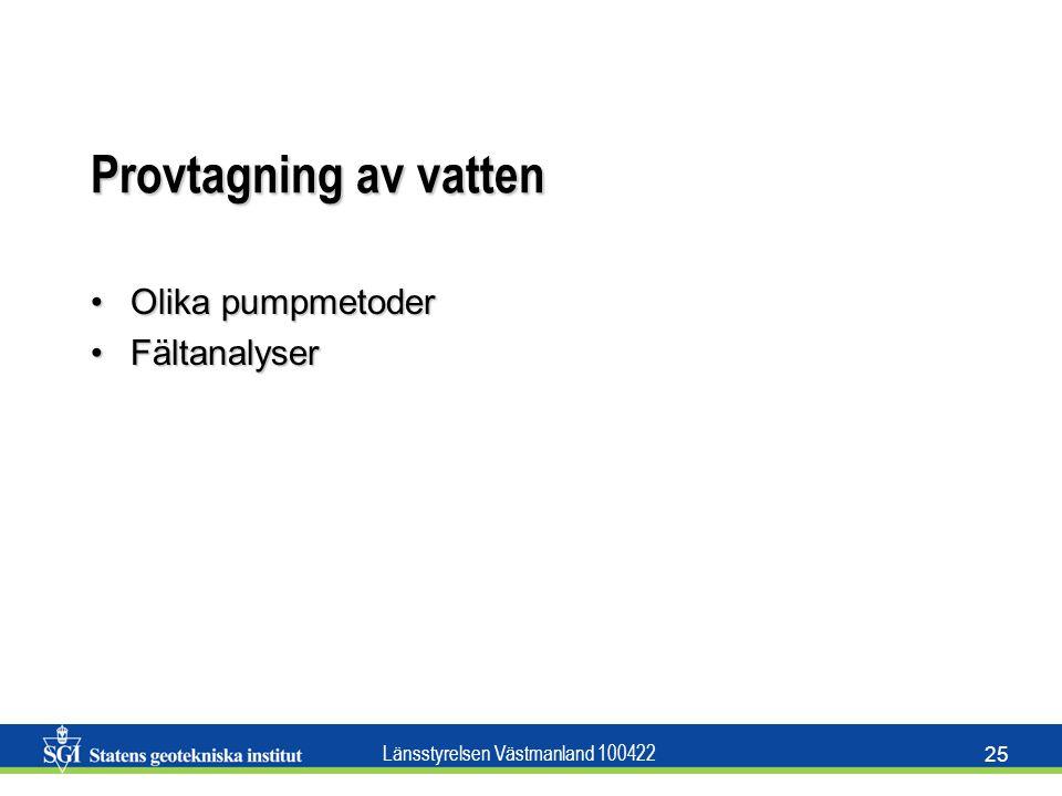 Länsstyrelsen Västmanland 100422 25 Provtagning av vatten Olika pumpmetoderOlika pumpmetoder FältanalyserFältanalyser