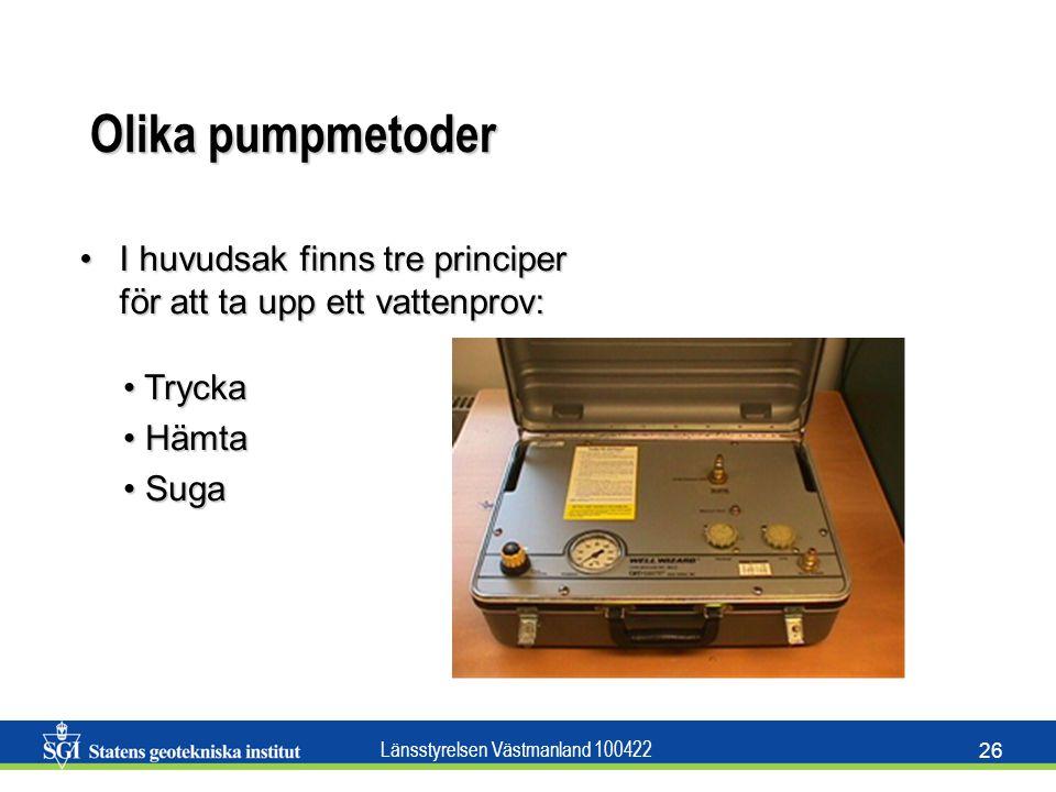 Länsstyrelsen Västmanland 100422 26 Olika pumpmetoder I huvudsak finns tre principer för att ta upp ett vattenprov:I huvudsak finns tre principer för