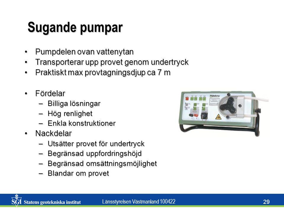 Länsstyrelsen Västmanland 100422 29 Sugande pumpar Pumpdelen ovan vattenytanPumpdelen ovan vattenytan Transporterar upp provet genom undertryckTranspo