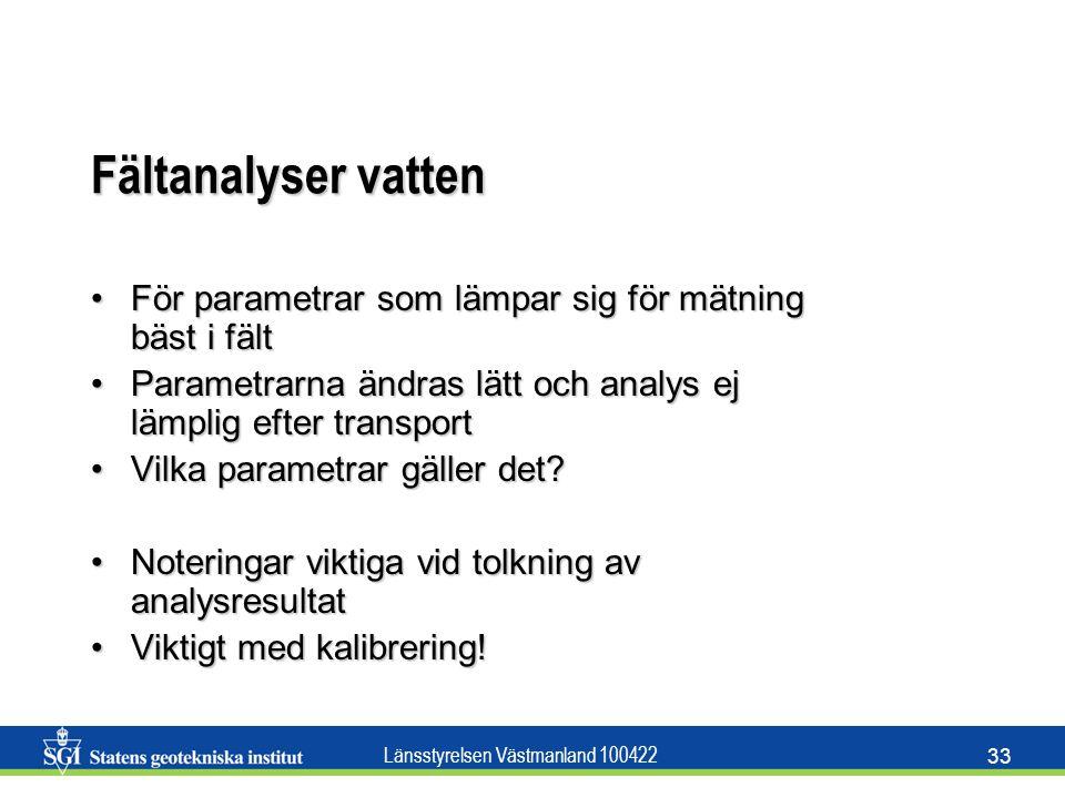 Länsstyrelsen Västmanland 100422 33 Fältanalyser vatten För parametrar som lämpar sig för mätning bäst i fältFör parametrar som lämpar sig för mätning