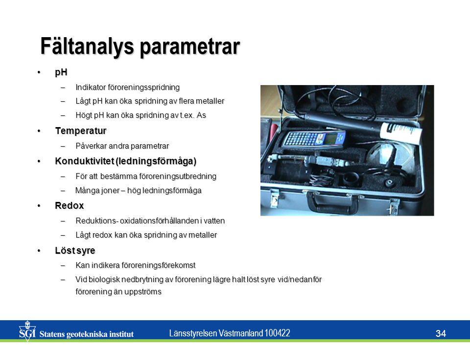 Länsstyrelsen Västmanland 100422 34 Fältanalys parametrar pHpH –Indikator föroreningsspridning –Lågt pH kan öka spridning av flera metaller –Högt pH k