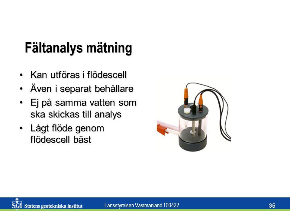 Länsstyrelsen Västmanland 100422 35 Fältanalys mätning Kan utföras i flödescellKan utföras i flödescell Även i separat behållareÄven i separat behålla