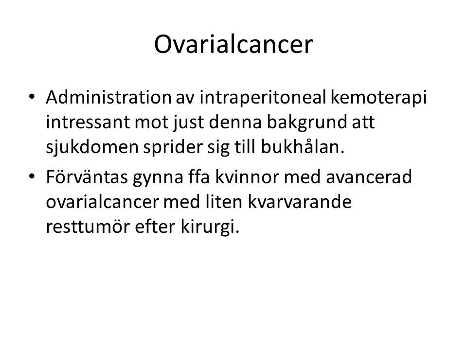 Ovarialcancer Administration av intraperitoneal kemoterapi intressant mot just denna bakgrund att sjukdomen sprider sig till bukhålan. Förväntas gynna