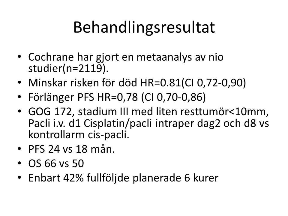 Behandlingsresultat Cochrane har gjort en metaanalys av nio studier(n=2119). Minskar risken för död HR=0.81(CI 0,72-0,90) Förlänger PFS HR=0,78 (CI 0,