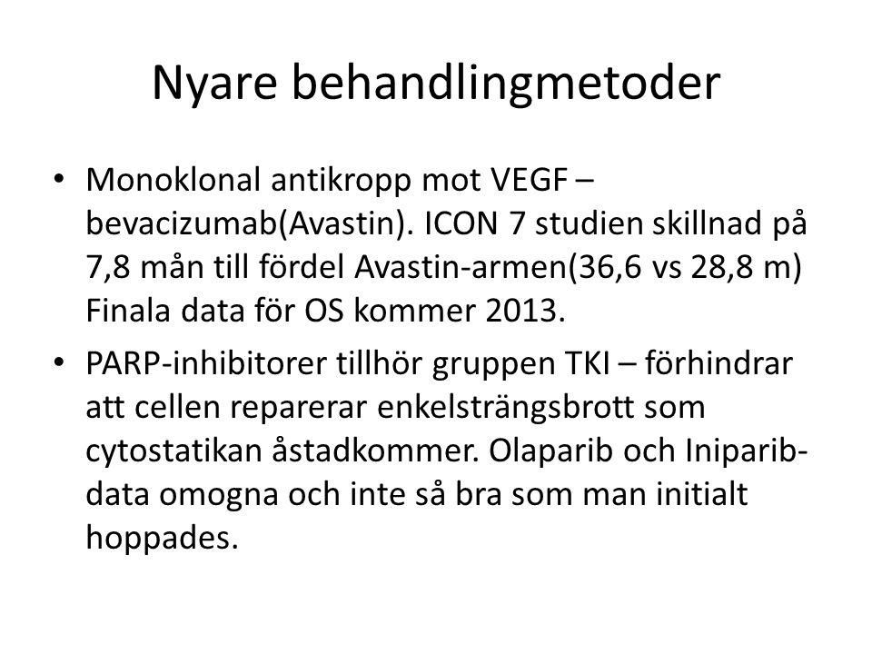 Nyare behandlingmetoder Monoklonal antikropp mot VEGF – bevacizumab(Avastin). ICON 7 studien skillnad på 7,8 mån till fördel Avastin-armen(36,6 vs 28,