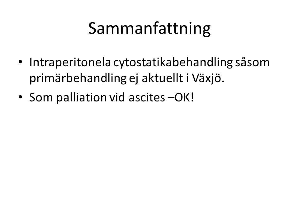 Sammanfattning Intraperitonela cytostatikabehandling såsom primärbehandling ej aktuellt i Växjö. Som palliation vid ascites –OK!