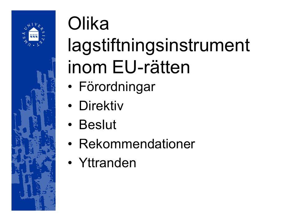 Fördragens betydelse för EU Bestämmer vilka institutioner som finns och dess uppgifter Reglerar EU:s beslutsområden Ramfördrag