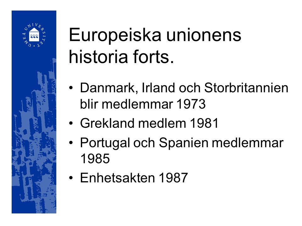Europeiska unionens historia Europeiska kol- och stålunionen 1952 Europeiska ekonomiska gemenskapen (Romfördraget) 1957 Europeiska atomenergigemenskapen 1957
