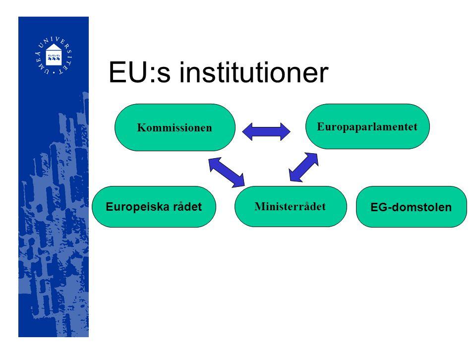 EU:s institutioner Europaparlamentet Ministerrådet Europeiska rådet Kommissionen EG-domstolen