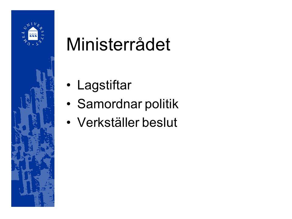Ministerrådet Lagstiftar Samordnar politik Verkställer beslut