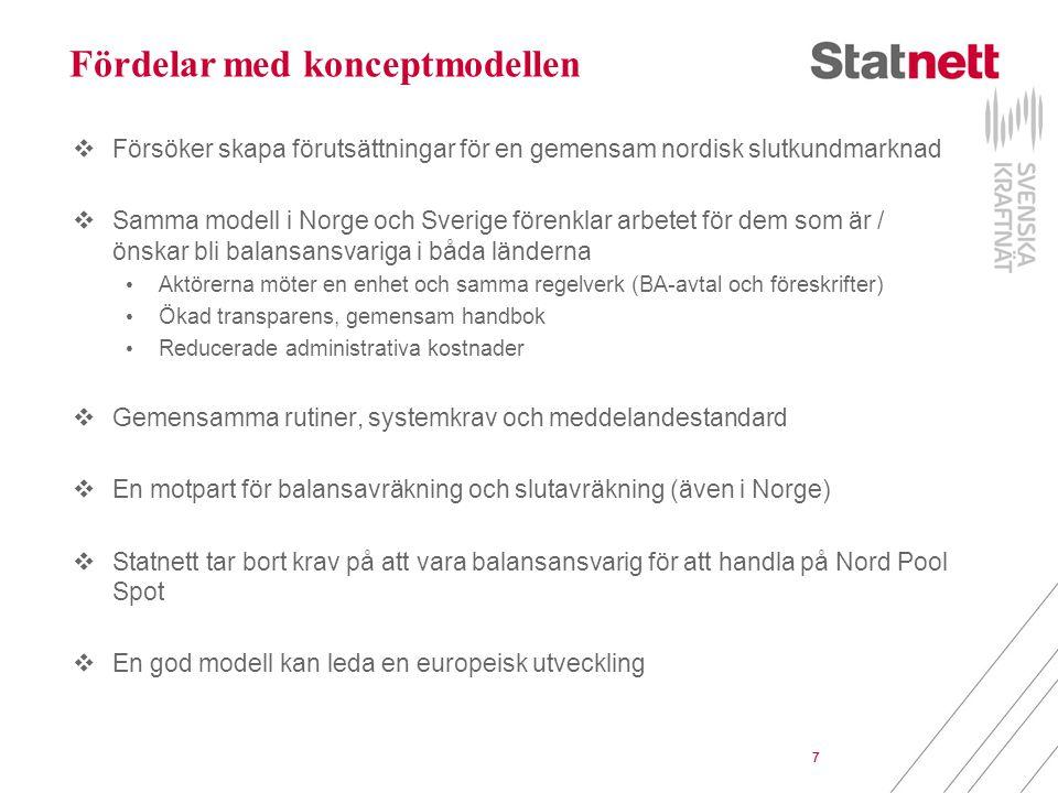 7 Fördelar med konceptmodellen  Försöker skapa förutsättningar för en gemensam nordisk slutkundmarknad  Samma modell i Norge och Sverige förenklar arbetet för dem som är / önskar bli balansansvariga i båda länderna Aktörerna möter en enhet och samma regelverk (BA-avtal och föreskrifter) Ökad transparens, gemensam handbok Reducerade administrativa kostnader  Gemensamma rutiner, systemkrav och meddelandestandard  En motpart för balansavräkning och slutavräkning (även i Norge)  Statnett tar bort krav på att vara balansansvarig för att handla på Nord Pool Spot  En god modell kan leda en europeisk utveckling 7