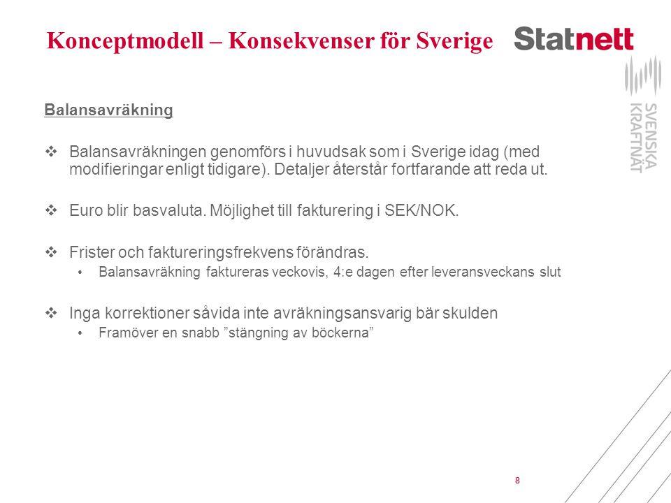 8 Konceptmodell – Konsekvenser för Sverige Balansavräkning  Balansavräkningen genomförs i huvudsak som i Sverige idag (med modifieringar enligt tidigare).