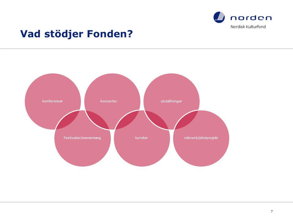 Nordisk Kulturfond 7 Vad stödjer Fonden? konferenserFestivaler/evenemangkonserterturnéerutställningarnätverk/pilotprojekt