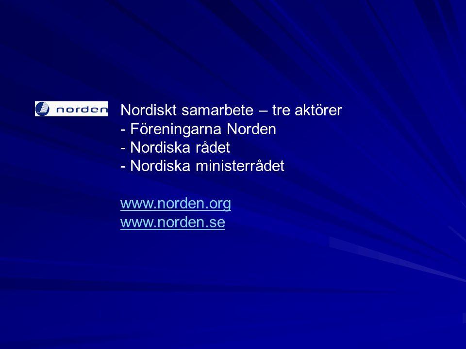Nordiskt samarbete – tre aktörer - Föreningarna Norden - Nordiska rådet - Nordiska ministerrådet www.norden.org www.norden.se