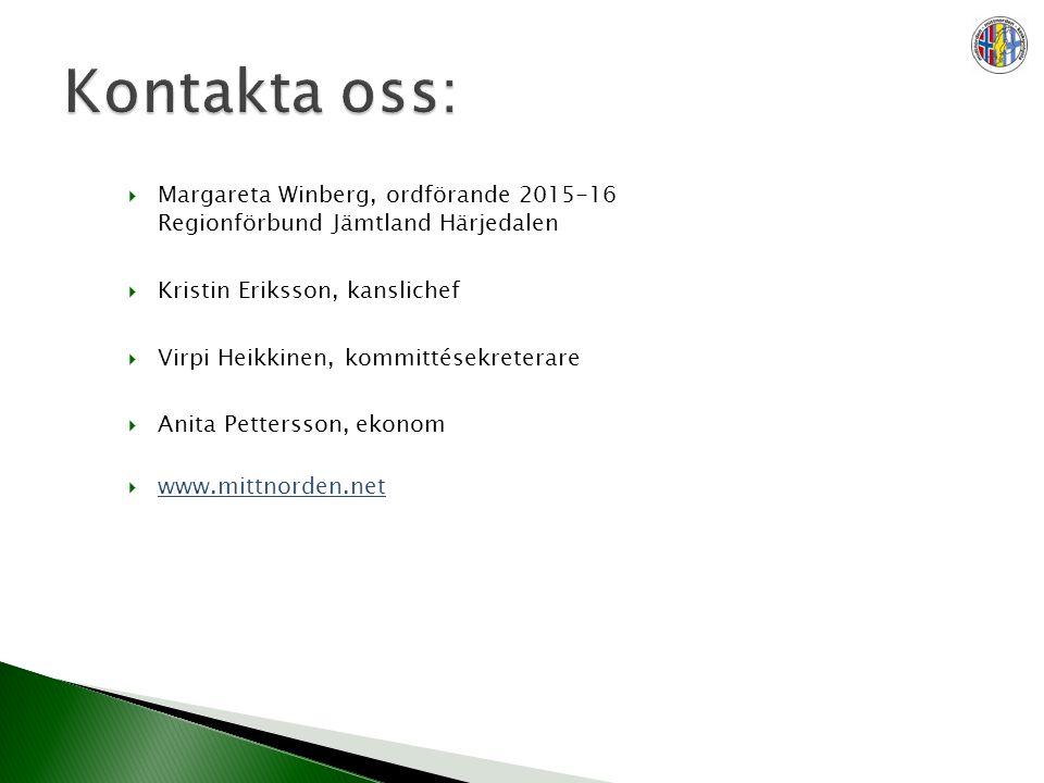  Margareta Winberg, ordförande 2015-16 Regionförbund Jämtland Härjedalen  Kristin Eriksson, kanslichef  Virpi Heikkinen, kommittésekreterare  Anita Pettersson, ekonom  www.mittnorden.net www.mittnorden.net