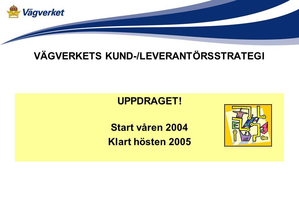 VÄGVERKETS KUND-/LEVERANTÖRSSTRATEGI UPPDRAGET! Start våren 2004 Klart hösten 2005