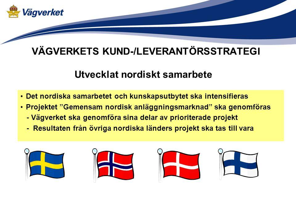 VÄGVERKETS KUND-/LEVERANTÖRSSTRATEGI Det nordiska samarbetet och kunskapsutbytet ska intensifieras Projektet Gemensam nordisk anläggningsmarknad ska genomföras - Vägverket ska genomföra sina delar av prioriterade projekt - Resultaten från övriga nordiska länders projekt ska tas till vara Utvecklat nordiskt samarbete