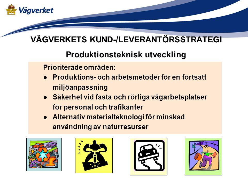 VÄGVERKETS KUND-/LEVERANTÖRSSTRATEGI Prioriterade områden: ● Produktions- och arbetsmetoder för en fortsatt miljöanpassning ● Säkerhet vid fasta och rörliga vägarbetsplatser för personal och trafikanter ● Alternativ materialteknologi för minskad användning av naturresurser Produktionsteknisk utveckling