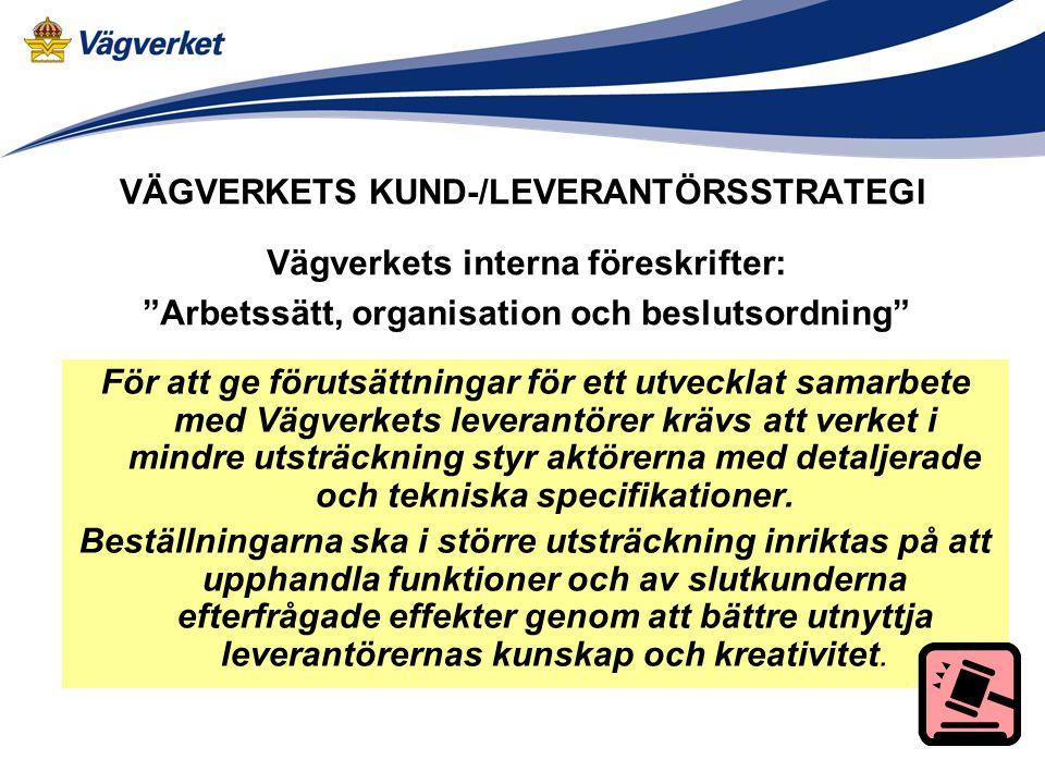 VÄGVERKETS KUND-/LEVERANTÖRSSTRATEGI Underlag: Projektdirektiv Arbetssätt, organisation och beslutsordning (VV interna föreskrifter) Gemensam nordisk anläggningsmarknad (Rapport till Nordiska Ministerrådet) Beställar-/utförarmodellen - erfarenhetsuppföljning (NVF-rapport) Sex år med beställar-/utförarmodellen (Rapport från Riksrevisionsverket) Demonstrationsprojekt för utveckling av anläggningsprocessen (IVA:s Anläggningsforum)