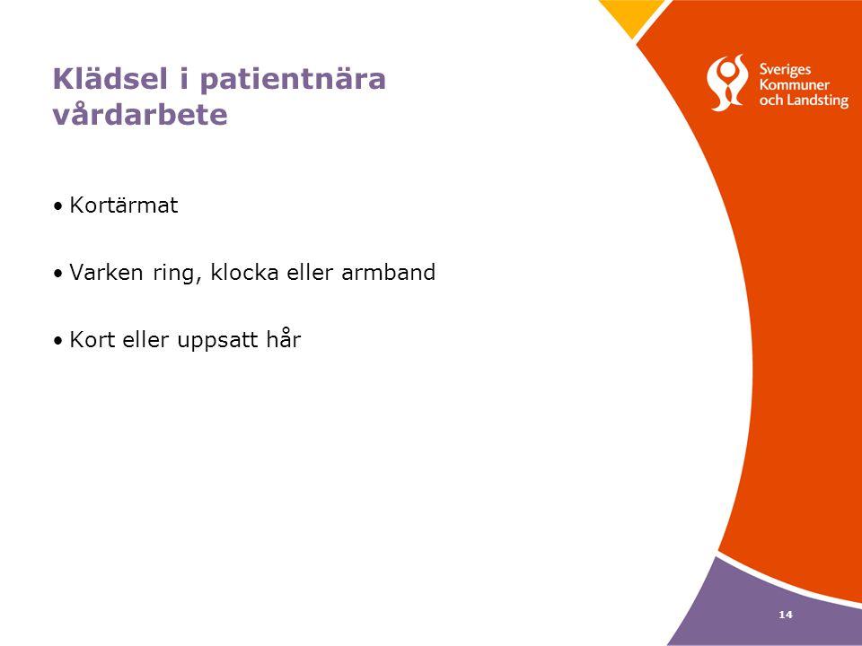 14 Klädsel i patientnära vårdarbete Kortärmat Varken ring, klocka eller armband Kort eller uppsatt hår