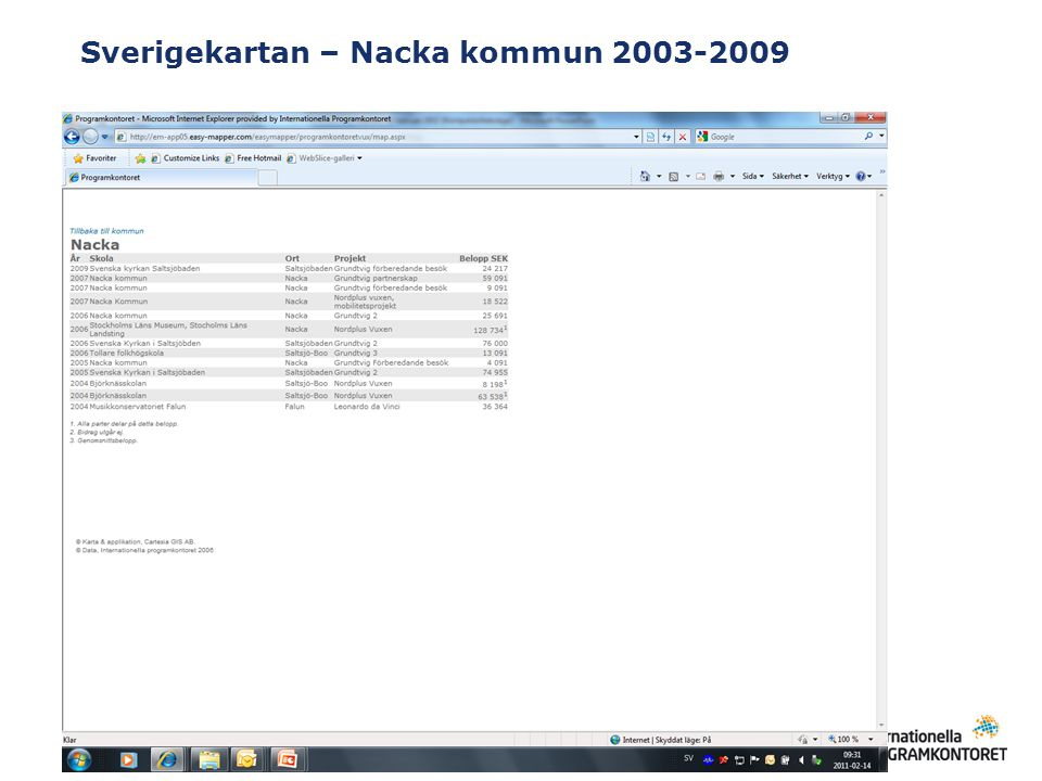 Sverigekartan – Nacka kommun 2003-2009