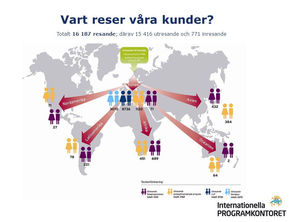 Sverigekartan – 2003-2009 I en interaktiv karta presenteras information där du kan se: det totala antalet ansökningar per län och kommun antal beviljade ansökningar i förhållande till folkmängden hur mycket medel de beviljade ansökningarna har fått vilka skolor/organisationer som har fått bidrag och för vilken aktivitet Sverigekartan